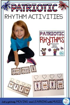 Patriotic Rhythm Activities for Music Class is all about body percussion, rhythm patterns, playing instruments and learning beginning rhythms. . Beginning level activities for quarter and eighth notes. Patriotic Rhythm Activities are perfect for any Patriotic Holiday Music lessons. #veteransdaymusic #musicedveteransdaylessons #musiceducationveteransdaylessons  #musiceducation  #elementarymusiceducation  #musicandmovement #movementactivities #kodalyteacher #MusicEducationActivities