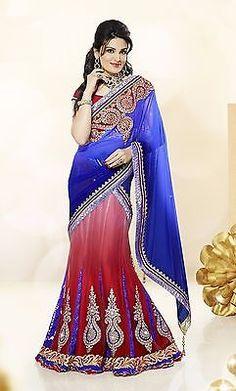 Attractive Blue Red Lehenga Choli New Partywear Bridal Ethnic Wedding3317