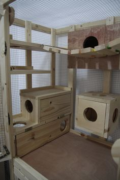 I love the idea of something like this for your Birdie, esspecialy the hide and bridge part! Chinchillas, Hamsters, Skunks, Chinchilla Care, Rat Cage, Small Animal Cage, Degu, Parrot Toys, Diy Stuffed Animals