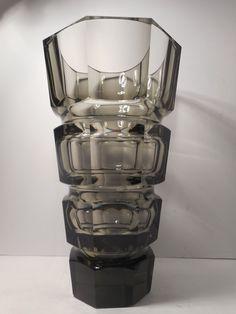 LARGE VINTAGE MOSER BOHEMIAN SMOKEY TOPAZ CRYSTAL GLASS VASE   eBay