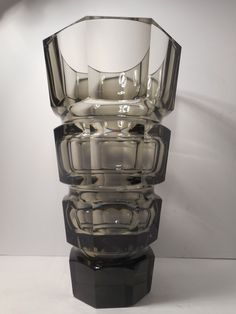 LARGE VINTAGE MOSER BOHEMIAN SMOKEY TOPAZ CRYSTAL GLASS VASE | eBay