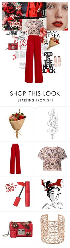 """""""Waiting for my  Valentine's Day"""" by karliuxxx ❤ liked on Polyvore featuring Anja, J.A.K., Needle & Thread, Gucci, Co.Ro, Eddie Borgo, red, Heels, gucci and redpants"""