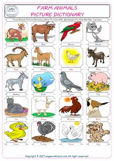 Farm Animals Picture Dictionary Word To Learn ESL Worksheets For Kids And New Learners