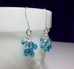 30% Off SALE thru Sun Aqua Blue Green Crystal Cluster Earrings Valentines Mothers Day Mom Sister Bridesmaid Aunt Girlfriend Birthday Jewelry