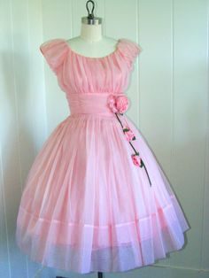 1950's Pink Chiffon Party Dress with Roses