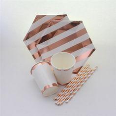 Rose gold and white stripe design paper foil straws engagement