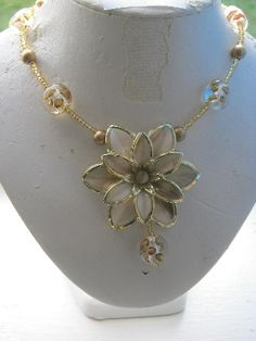 gold flower necklace #HAF #HAFteam #handmade #jewelry $29.00