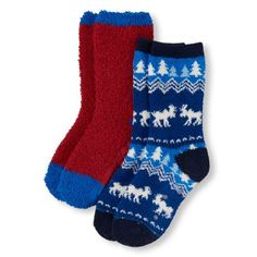Boys Boys Moose Fair Isle Print And Solid Cozy Crew Socks 2-Pack - Red - The Children's Place