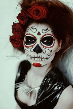 day of the dead red rose face makeup