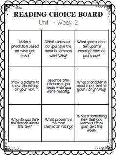FREE Reading Choice Board-This would be great for homework!