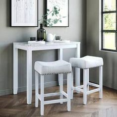 Charlton Home® Rea 3 Piece Dining Set & Reviews | Wayfair Dinning Set, Solid Wood Dining Set, 3 Piece Dining Set, Dining Room Sets, Bar Dining Table, Bar Tables, Console Table, White Kitchen Cart, Kitchen Dining
