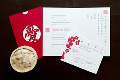 """Lillian and Jared Special Design Notes: """"Love"""" laser cut pocket in red (available in other colors as special order); invitation printed in English and Chinese was inserted into pocket Printing Method: Letterpress / design can be offset printed Paper: Strathmore Natural White As seen in: Grace Ormonde Wedding Style Fall 2007"""