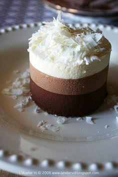 Mousse de chocolate, vainilla y coco, delicioso