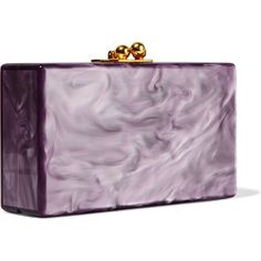 Edie Parker Jean Grrr! glittered acrylic box clutch ($1,500) ❤ liked on Polyvore featuring bags, handbags, clutches, acrylic clutches, lavender purse, vintage style handbags, lavender handbag and hard clutch
