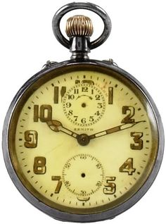 Mahatma Gandhi's Zenith, movement No. 421357, case No. 49529. Made circa 1910. Fine, rare and historically Important, sterling silver keyless pocket watch with alarm function.