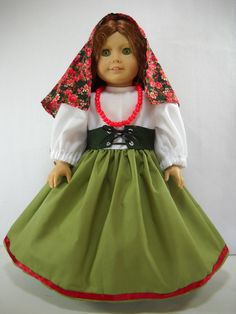 "Fits 18"" American Girl doll Italy Italian folk dress clothes U COSTUME ONLY"