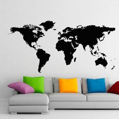 World Map Wall Decals Geographic Vinyl Stickers Countries Wall Decor Home Decor for Living Room, Decal for Office C030