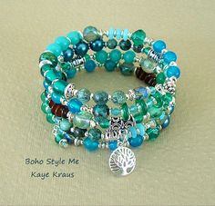Boho Gypsy Tree Bracelet Mixed Teal Beaded Bracelet by BohoStyleMe