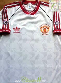 6cbe7e4b9d6 Relive Manchester United s 1990 1991 European season with this vintage  Adidas 3rd kit football shirt