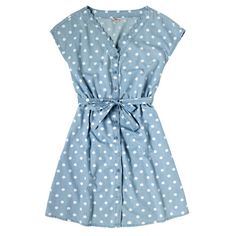 Button Spot Scallop Edge Chambray Dress