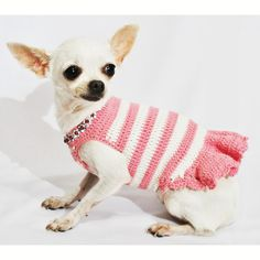 Pink Dog Dresses Peach Diamond Necklace Pet Accessories XXS Teacup Chihuahua Clothes Yorkie DF45 by Myknitt - Free Shipping