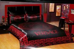 LUXURY-VERSACE-BLACK-RED-SATIN-BEDDING-SET-without-box