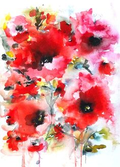 Original art at UGallery.com | Poppies en masse VIII by Karin Johannesson |  watercolor painting
