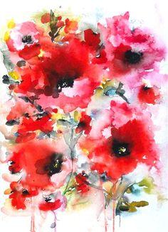 watercolor painting | Poppies en masse VIII | Ugallery Online Art Gallery
