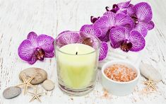 Download wallpapers spa accessories, sea salt, a branch of orchids, pink orchids, candles, starfish, spa concepts, wellness
