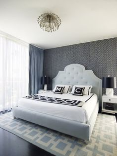 you spend a third of your day in your bedroom so why not make it super comfy and gorgeous looking.. nice featured wall, pillows with your initials, curtains, lamps, and perfect carpet..dont forget the beautiful headboard