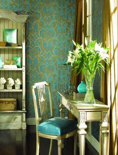 I love this room and the wallpaper is gorgeous!
