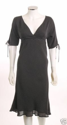 INC V-NECK BUTTERFLY SLEEVE TIES EMPIRE WAIST BLACK WHITE POLKA DOTS DRESS SZ6