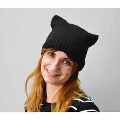 Black Cat Hat Pussyhat Black cat Unisex cat hat Cat hat Black messy... (80 PLN) ❤ liked on Polyvore featuring men's fashion, men's accessories and men's hats