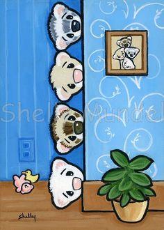 Ferret Art ACEO print Peepers Shelly Mundel by ShellyMundelArt
