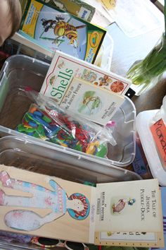 Quiet time bins. One bin for each day. Everything needed for an hour of entertainment. My kids would love this! Would make old activities seem new again.