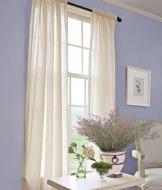 Striped Semi-Sheer Rod Pocket Curtains- have these, might need tiebacks ($8.50/ pr)