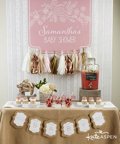 Rustic Baby Shower Party Ideas | Tissue Paper Tassel Garland | Kate Aspen | #celebratewithlate | www.kateaspen.com | burlap | lemonade | Pink and Gray Baby Shower | Free Printable