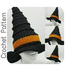 Crochet PATTERN | Witch Hat Crochet Pattern | Crochet Pattern Witches Hat | Halloween Crochet Pattern | Kid's and Adult's Witch Hat Pattern by SerendipityasAlways on Etsy https://www.etsy.com/listing/475026887/crochet-pattern-witch-hat-crochet