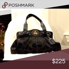 Coach 13907 Garnet Signature Sateen Purse Excellent Used Condition, I carried this purse very few times. It's gorgeous! Front magnetic turn closure has some scratching but very minor. Normal wear but looks new! This purse retails for over $400 + tax but to my knowledge they do not make it anymore. Coach Bags Hobos