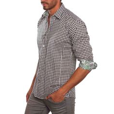 Gingham with patterned cuff in black
