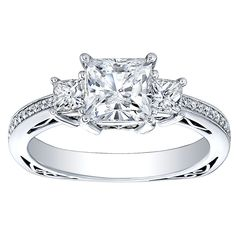 18K Gold 3/4ct TDW Princess-cut CZ and Diamond Three-stone Engagement Ring