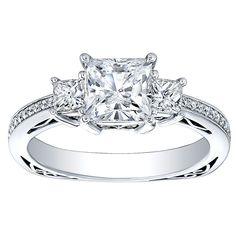 18K Gold 3/4ct TDW Princess-cut CZ and Diamond Three-stone Engagement Ring