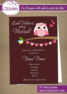 DIY PRINTABLE - Owl Look Whooo's Bridal Shower Invitations $12.00