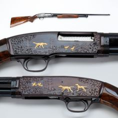 """Winchester M42 shotgun - Winchester's M42 .410 was a scaled-down M12 shotgun introduced in 1935. This slide-action shotgun was Winchester's first for the .410 shotshell & early guns were chambered for the shorter 2-½ cartridges.  Our example today has a nice """"before & after"""" vibe going with its gold inlays & engraving depicting hounds on the hunt and birds both on the ground and in flight. NRA National Firearms Museum."""