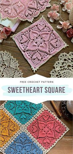 Crochet Patterns Filet, Crochet Quilt, Crochet Squares, Thread Crochet, Crochet Crafts, Crochet Doilies, Crochet Stitches, Knit Crochet, Free Crochet Square