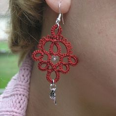 Romantic wine-red tatted earrings | Flickr - Photo Sharing!
