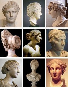 Retratos femeninos romanos, en mármol. Estos retratos solo se lo permitían las grandes patricias y damas de la familia imperial; y reflejan el estilo de peinado y vestimenta de cada época, por lo que son fácilmente datables.