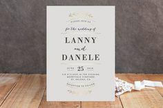 """Elegant Announcement"" - Rustic, Classical Foil-pressed Wedding Invitations in Vanilla by Kelly Schmidt."