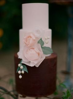 chocolate and vanilla cake with pink rose