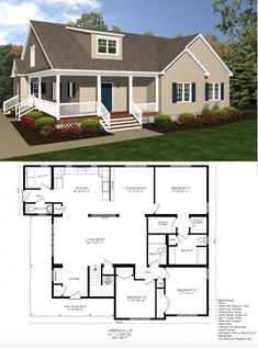 The Greenville – Dream House New House Plans, Dream House Plans, House Floor Plans, Modular Home Floor Plans, Kitchen Floor Plans, Br House, Sims House, Basement Layout, Floor Plan Layout